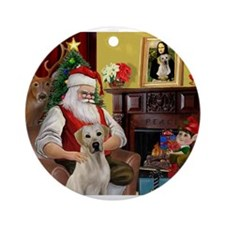 Santa's Yellow Lab #7 Ornament (Round)