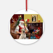 Santa's Yellow Lab #7 Ornament (Round)