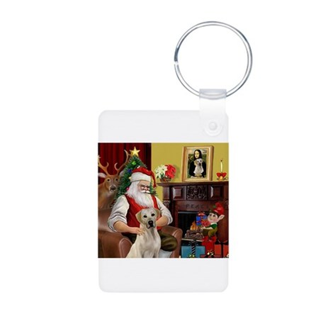 Santa's Yellow Lab #7 Aluminum Photo Keychain