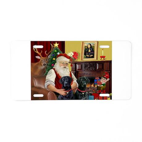 Santa's 2 Black Labs Aluminum License Plate