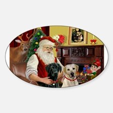 Santa's 2 Labs (Y+B) Sticker (Oval)