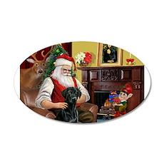 Santa's Black Lab 22x14 Oval Wall Peel