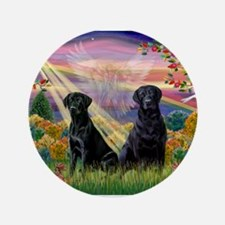 "Autumn Angel / 2 Black Labs 3.5"" Button"