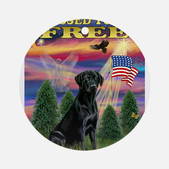Blessed/Free-Black Lab Ornament (Round)