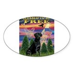 Blessed/Free-Black Lab Sticker (Oval 10 pk)