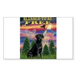Blessed/Free-Black Lab Sticker (Rectangle)