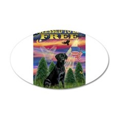 Blessed/Free-Black Lab 22x14 Oval Wall Peel