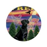 "Blessed/Free-Black Lab 3.5"" Button"