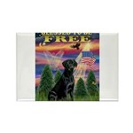 Blessed/Free-Black Lab Rectangle Magnet (10 pack)