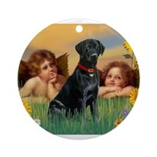 2 Angels / Black Labrador Ornament (Round)