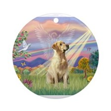 Cloud Angel & Yellow Lab 8 Ornament (Round)