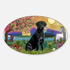 Black Lab in Fantasyland Sticker (Oval)
