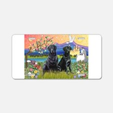 Fantasy Land/2 black Labs Aluminum License Plate