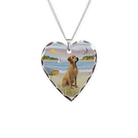 Rowboat & Yellow Lab Necklace Heart Charm