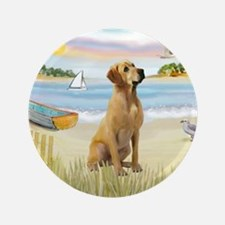 """Rowboat & Yellow Lab 3.5"""" Button"""