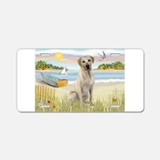 Rowboat & Yellow Lab Aluminum License Plate