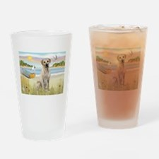 Rowboat & Yellow Lab Drinking Glass