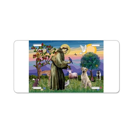 St Francis/Yellow Lab Aluminum License Plate