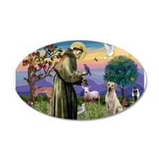 St Francis/Yellow Lab 22x14 Oval Wall Peel