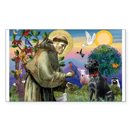 St Francis Black Lab Sticker (Rectangle)