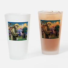 St Francis Black Lab Drinking Glass