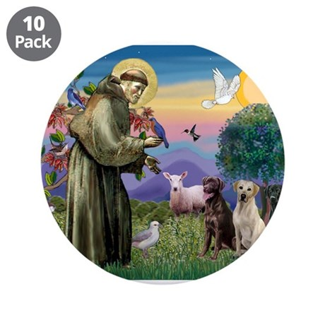 "Saint Francis / Three Labrado 3.5"" Button (10"