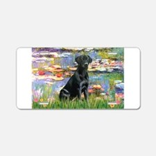 Water Lilies & Black Lab Aluminum License Plat
