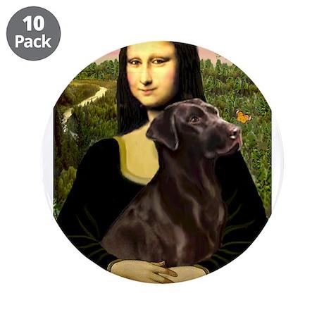 "Mona Lisa / Chocolate Lab 3.5"" Button (10 pac"