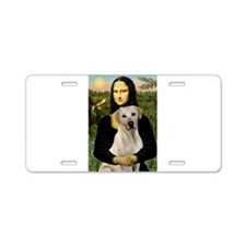 Mona & her Yellow Lab Aluminum License Plate