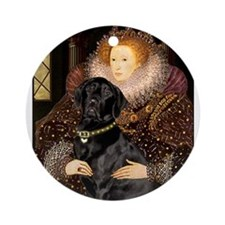 The Queen's Black Lab Ornament (Round)