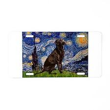Starry Chocolate Lab Aluminum License Plate