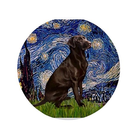"Starry Chocolate Lab 3.5"" Button"
