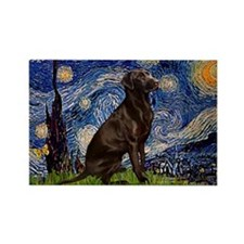 Starry Chocolate Lab Rectangle Magnet (10 pack)