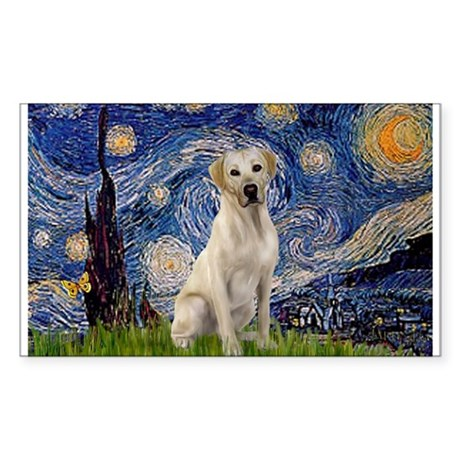 Starry Night Yellow Lab Sticker (Rectangle)