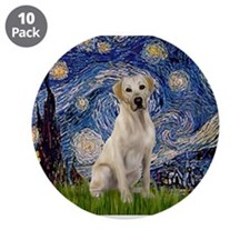 """Starry Night Yellow Lab 3.5"""" Button (10 pack)"""