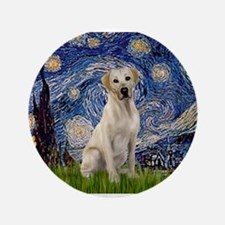 """Starry Night Yellow Lab 3.5"""" Button"""