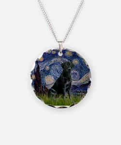 Starry Night Black Lab Necklace Circle Charm