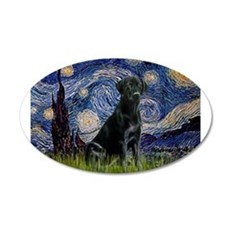 Starry Night Black Lab 22x14 Oval Wall Peel