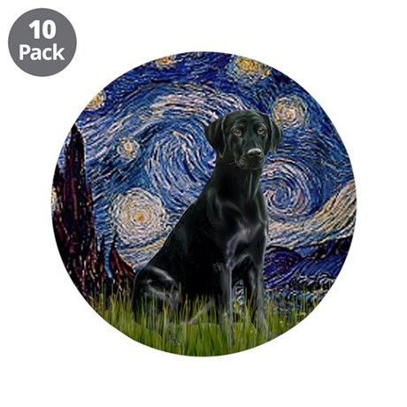 """Starry Night Black Lab 3.5"""" Button (10 pack)"""