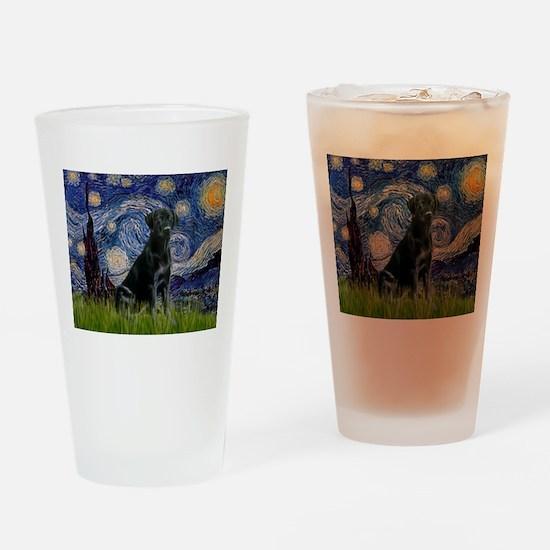 Starry Night Black Lab Drinking Glass