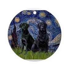 Starry Night / 2 Black Labs Ornament (Round)