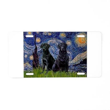 Starry Night / 2 Black Labs Aluminum License Plate