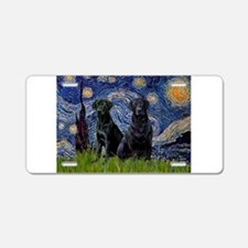 Starry Night / 2 Black Labs Aluminum License Plate