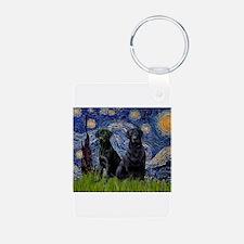 Starry Night / 2 Black Labs Keychains