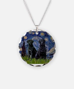 Starry Night / 2 Black Labs Necklace