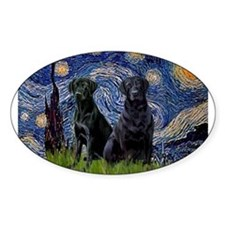 Starry Night / 2 Black Labs Decal