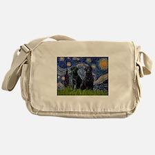 Starry Night / 2 Black Labs Messenger Bag