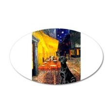 Cafe & Black Lab 22x14 Oval Wall Peel