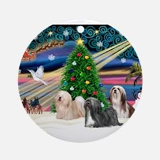 XmasMagic/3 Lhasas Ornament (Round)