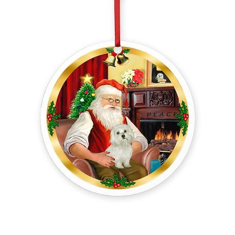 Santa's Maltese 11 Ornament (Round)